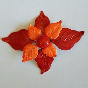 70's ENAMEL RED & ORANGE FLOWER pin VINTAGE